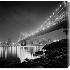 'Manhattan Bridge by Night' by Philippe Levy-Stab Stretched Canvas Art