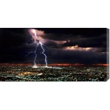 'Lightning over the City' by Rob Matheson Stretched Canvas Art