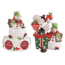 2 Piece Holly Hat Snowman Serving Set
