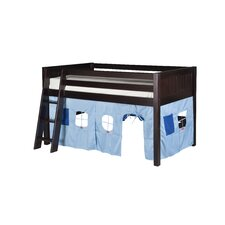 Twin Low Loft Playhouse Bed with Panel Headboard