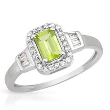 925 Sterling Silver Octagon Cut Peridot Ring