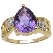 14K Gold Plated Pear Cut Amethyst Ring