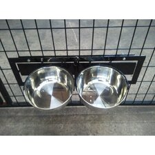 Basic Dog Kennel Mounted Swivel Food and Water Bowl System
