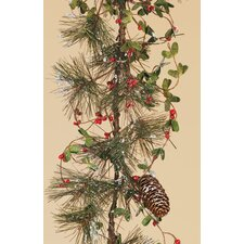 Frosted Pine Berry Pine Cone Garland (Set of 32)