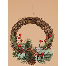 Berry Pine Cone Vine Wreath