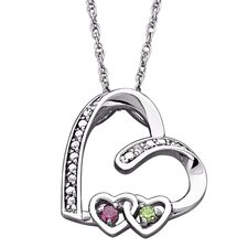 Sterling Silver Double Heart Genuine Birthstone Necklace