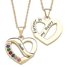 Gold Plated Family Name & Birthstone Heart Necklace - 6 Stones