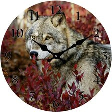 Autumn Wolf Wall Clock