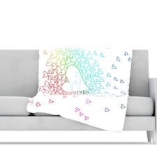 Rainbow Hearts Fleece Throw Blanket