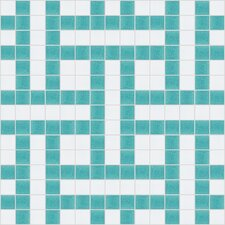 "Urban Essentials 12"" x 12"" Basket Weave Mosaic Pattern Tile in Deep Teal"