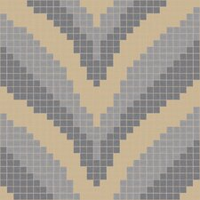 "Urban Essentials 24"" x 24"" Stylized Chevron Mosaic Pattern Tile in Urban Khaki"