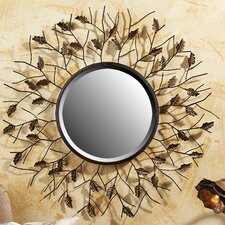 Branch and Leave Design Round Wall Mirror
