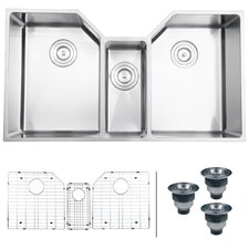"Gravena 35"" x 19.5"" Undermount Triple Bowl Kitchen Sink"