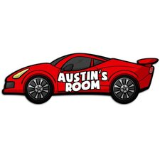 Custom Named Sports Car Door Sign 3D Cartoon Wall Art