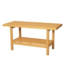 Two Station Wooden Workbench with Shelf