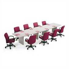 "216"" Wide Two-Section Self Edge Boat Shape Top Conference Table with Slab Base"