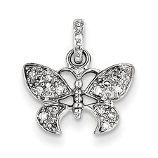 14k White Gold Vintage Butterfly Diamond Pendant