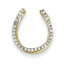 14k Two-Tone Horseshoe Gold Diamond Slide Pendant