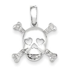 14k White Gold Skull and Bones Diamond Pendant