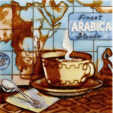 "8"" x 8"" Arabica Coffee Map Art Tile in Brown"