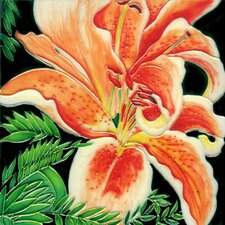 "8"" x 8"" Flower Art Tile in Orange"