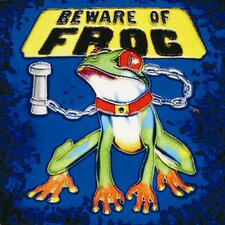 "8"" x 8"" Beware of the Frog Art Tile in Multi"