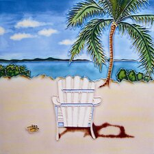 "8"" x 8"" Palm Tree and White Chair Art Tile in Multi"