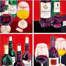 "4"" x 4"" Wine Bottles Art Tile in Multi (Set of 4)"