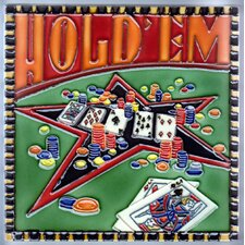"8"" x 8"" Casino Hold Em Art Tile in Multi"