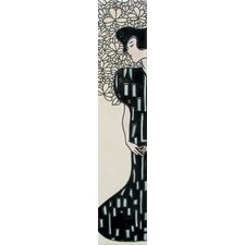 "16"" x 3"" Japanese Lady Art Tile in Black"