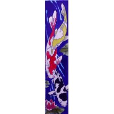 "16"" x 3"" 3 Koi Art Tile in Blue"