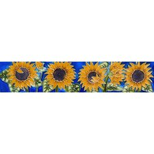 "16"" x 3"" Sunflower Art Tile in Yellow"