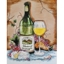 "14"" x 11"" Chardonnay Bottle, Glass, Brie, Pear and Purple Grapes Art Tile in Multi"