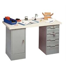 Modular Work Benches - Plastic Laminate Top with White Leather, 8 Drawers
