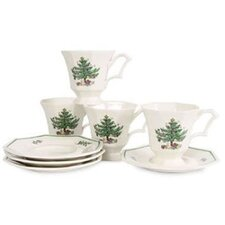 Christmastime Cup and Saucer (Set of 4)