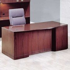 "Vitality 72"" W 3/4 Double Pedestal Bow Front Executive Desk with Drawers"