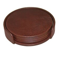 1000 Series Classic Leather Round Coasters with Holder in Mocha (Set of 4)
