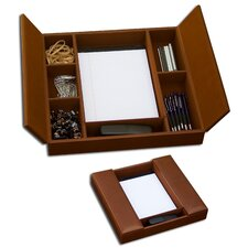3200 Series Leather Conference Room Organizer in Rustic Brown