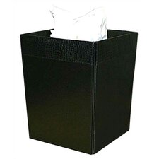 2000 Series Crocodile Embossed Leather Square Waste Basket in Black