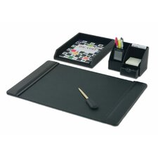 Leather 4-Piece Desk Set