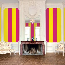 Stripe Wallpaper in Raspberry and Mango