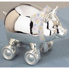 "Children's Giftware 4.25"" x 5.13"" Piggy with Wheels Bank"