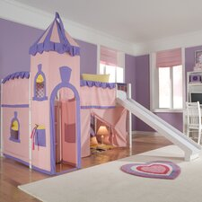 School House Twin Princess Low Loft Bed with Slide