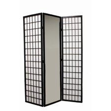 3-Panel Mirror Room Divider in Black