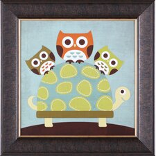 ''Three Owls on Turtle'' Wall Art