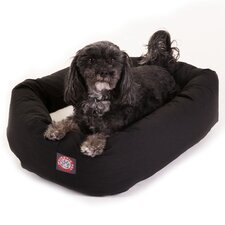 Bagel Dog Bed in Black and Sherpa
