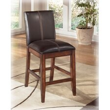 "Willow 24"" Barstool in Rich Burnished Dark Brown Wood"