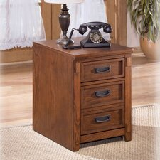 Cross Island 2-Drawer Mobile File Cabinet in Medium Brown Oak