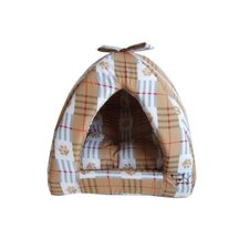 Beige Checkers with Paws Cabana Pet Bed