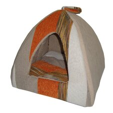 Striped Tent Pet Bed in Orange